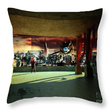 A Woman Spys From The Shadows Throw Pillow by Brian Christensen