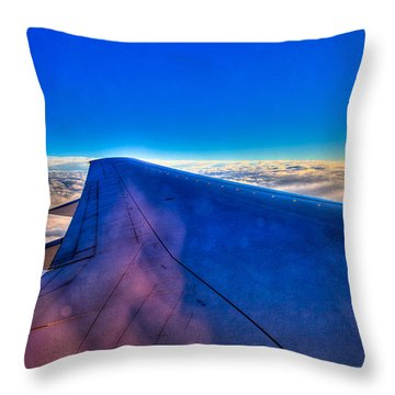 Above The Clouds On A 757 Throw Pillow by David Patterson