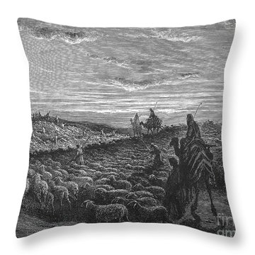 Abraham Entering Canaan Throw Pillow by Granger