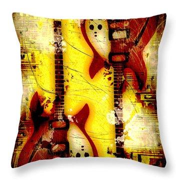 Abstract Grunge Guitars Throw Pillow by David G Paul