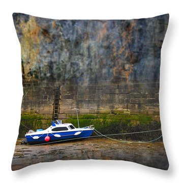 Abstract Harbour And Boat Throw Pillow by Svetlana Sewell