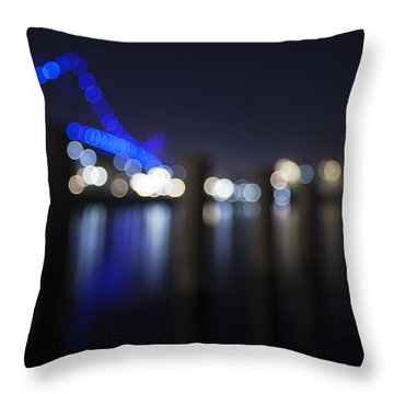 Abstract Vincent Thomas Bridge Throw Pillow by Mike Raabe