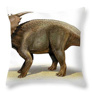 Achelousaurus Horneri, A Prehistoric Throw Pillow by Sergey Krasovskiy