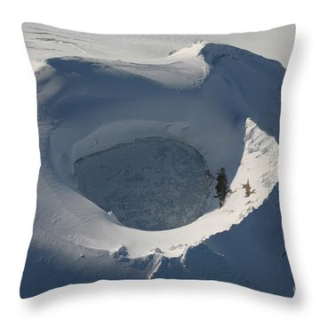 Aerial View Of Frozen Lake In Summit Throw Pillow by Richard Roscoe