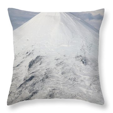 Aerial View Of Glaciated Shishaldin Throw Pillow by Richard Roscoe