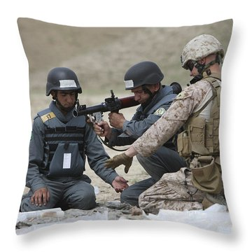 Afghan Police Students Assemble A Rpg-7 Throw Pillow by Terry Moore