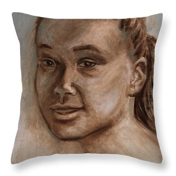 African American 2 Throw Pillow by Xueling Zou