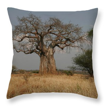 African Baobab Tree In The Tarangire Throw Pillow by Gina Martin