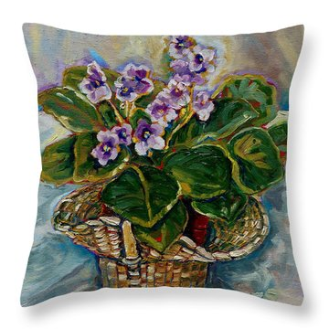 African Violets Throw Pillow by Carole Spandau