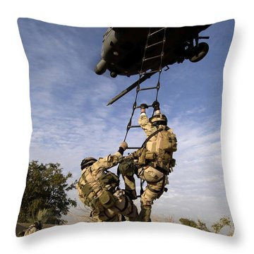 Air Force Pararescuemen Are Extracted Throw Pillow by Stocktrek Images