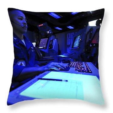 Air Traffic Controller Stands Watch Throw Pillow by Stocktrek Images