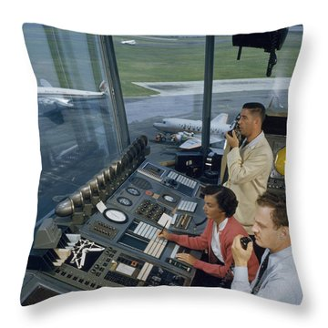 Air Traffic Controllers Direct Traffic Throw Pillow by David Boyer
