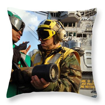 Airman Receives Proper Fire Fighting Throw Pillow by Stocktrek Images