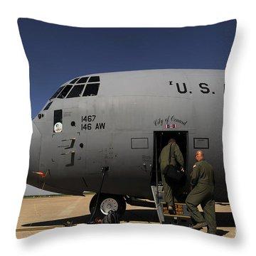 Airmen Board A C-130j Hercules At Dyess Throw Pillow by Stocktrek Images