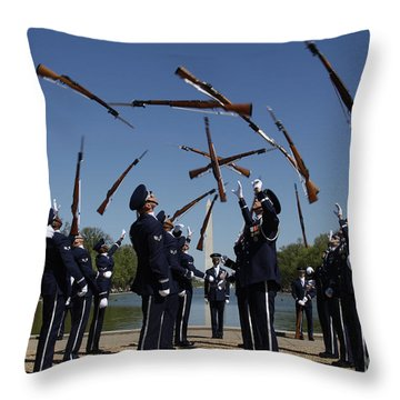 Airmen In The U.s. Air Force Honor Throw Pillow by Stocktrek Images