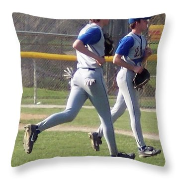 All Air Baseball Players Running Throw Pillow by Thomas Woolworth