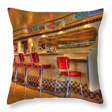 All American Diner 2 Throw Pillow by Bob Christopher