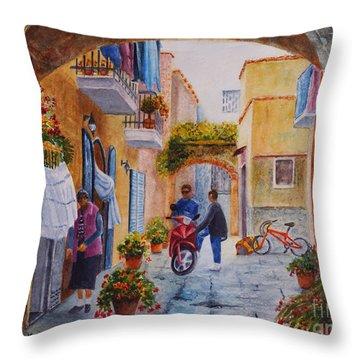 Alley Chat Throw Pillow by Karen Fleschler