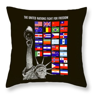 Allied Nations Fight For Freedom Throw Pillow by War Is Hell Store