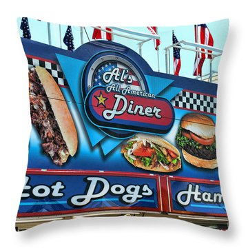 Al's All American Diner Throw Pillow by Paul Ward