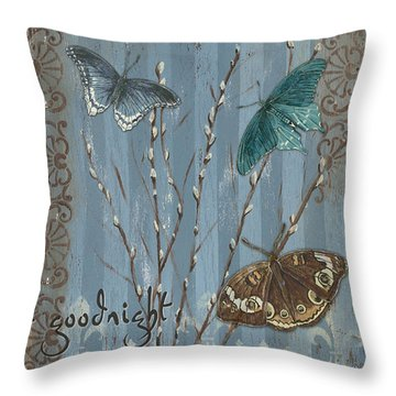 Always Kiss Me Goodnight Throw Pillow by Debbie DeWitt