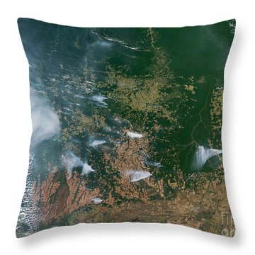 Amazon Basin Forest Fires, Satellite Throw Pillow by NASA / Science Source