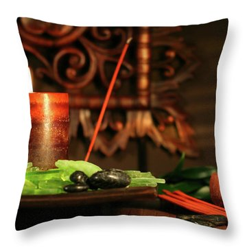 Amber Colored Candles Throw Pillow by Sandra Cunningham
