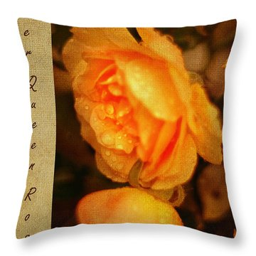 Amber Queen Rose Throw Pillow by Jenny Rainbow