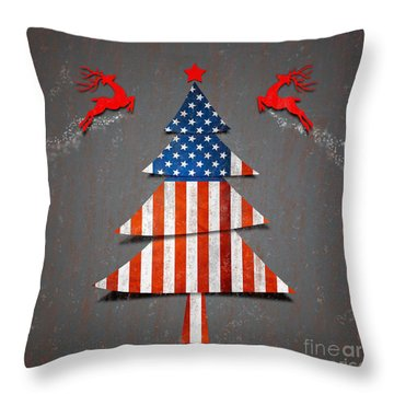 America X'mas Tree Throw Pillow by Atiketta Sangasaeng