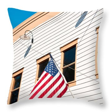American Flag Throw Pillow by Tom Gowanlock