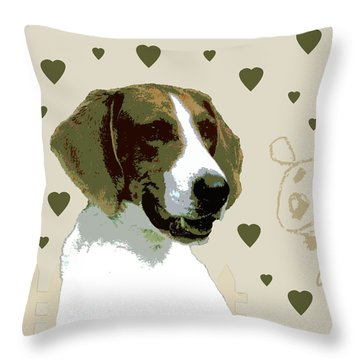 American Fox Hound Throw Pillow by One Rude Dawg Orcutt