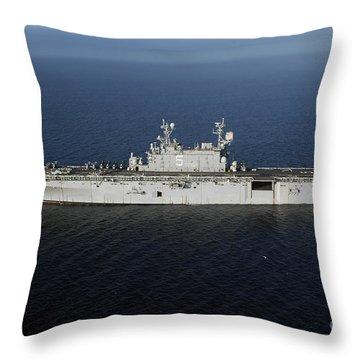 Amphibious Assault Ship Uss Peleliu Throw Pillow by Stocktrek Images