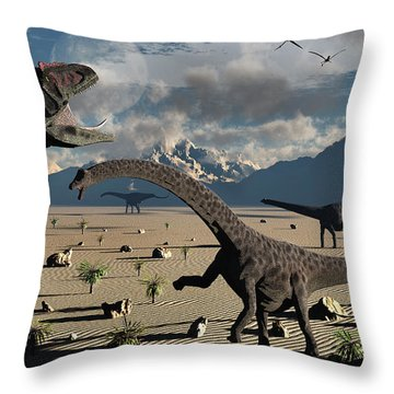 An Allosaurus Confronts A Small Group Throw Pillow by Mark Stevenson