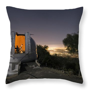 An Astronomer Works Inside A Dome Throw Pillow by Jim Richardson