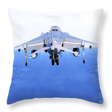 An Av-8b Harrier Jet Launches Throw Pillow by Stocktrek Images