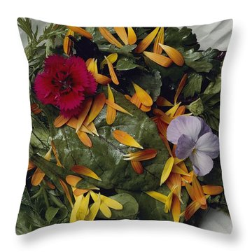 An Edible Salad At The Tilth Harvest Throw Pillow by Sam Abell