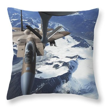 An F-15c Eagle Aircraft Sits Throw Pillow by Stocktrek Images