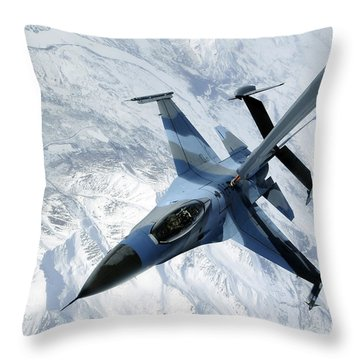 An F-16 Aggressor Sits In Contact Throw Pillow by Stocktrek Images