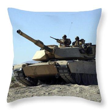 An M1a1 Main Battle Tank Throw Pillow by Stocktrek Images