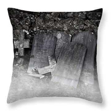 An Old Cemetery With Grave Stones And Fog Throw Pillow by Joana Kruse