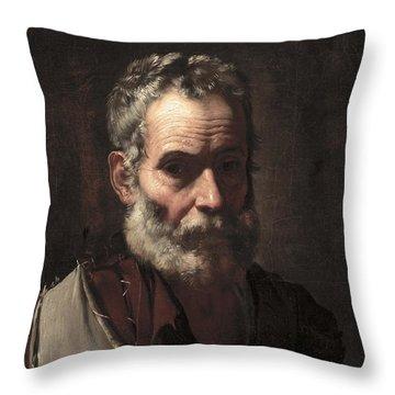 An Old Man Throw Pillow by Jusepe de Ribera