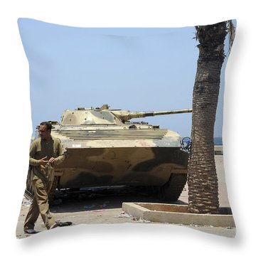 An Old Russian Bmp Armored Personnel Throw Pillow by Andrew Chittock