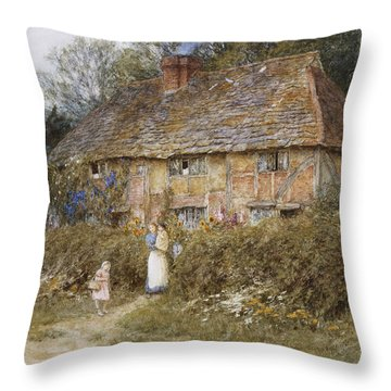 An Old Surrey Cottage Throw Pillow by Helen Allingham
