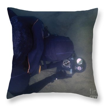 An Over The Shoulder View Of A Navy Throw Pillow by Michael Wood
