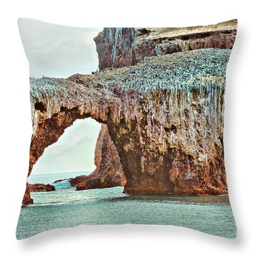 Anacapa Island 's Arch Rock Throw Pillow by Cheryl Young