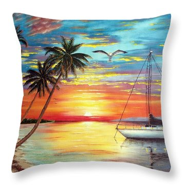 Anchored At Sunset Throw Pillow by Riley Geddings