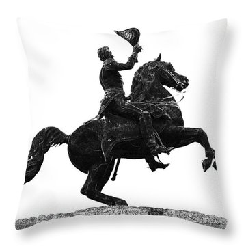 Andrew Jackson Statue Jackson Square French Quarter New Orleans Glowing Edges Digital Art Throw Pillow by Shawn O'Brien