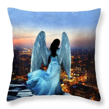 Angel On Rocky Ledge Above City At Night Throw Pillow by Jill Battaglia