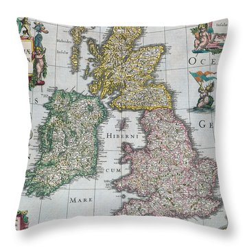 Antique Map Of Britain Throw Pillow by English School