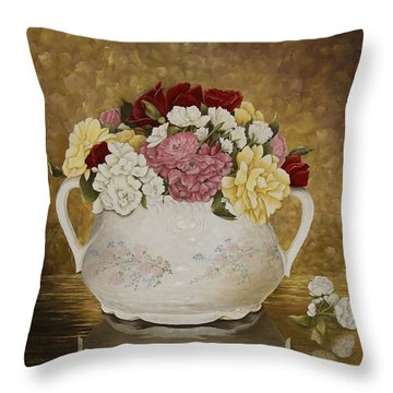 Antique Roses Throw Pillow by Mary Ann King